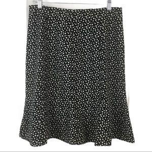JBXR Polka Dot Flare Bottom Skirt Black White